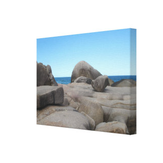 Stones Rocks and Sea Premium Wrapped Canvas Gloss