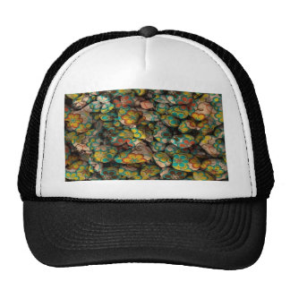 stones with colorful florets hats