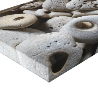 Stones with holes beach finds art canvas print