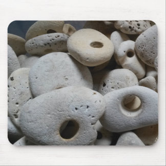 Stones with holes beach finds mouse pad