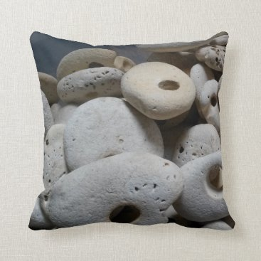 Beach Themed Stones with holes contemporary and fun throw pillow