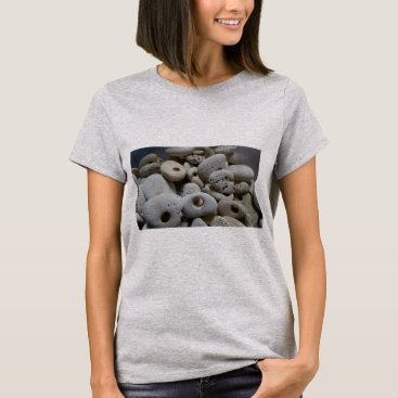 Beach Themed Stones with holes cute cool grey T-Shirt
