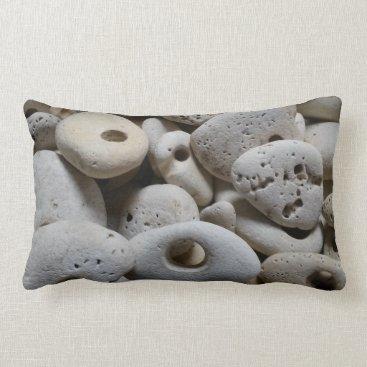 Beach Themed Stones with holes original and fun lumbar pillow