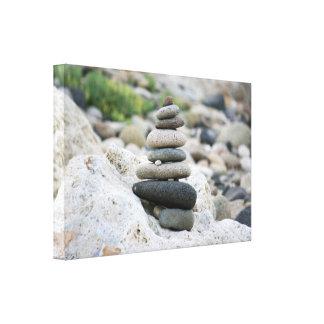 Stones zen in the beach of Almeria Canvas Print