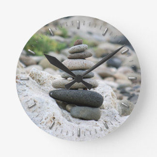 Stones zen in the beach of Almeria Round Clock