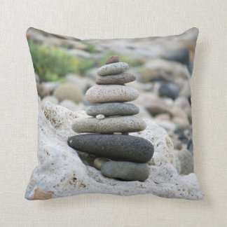 Stones zen in the beach of Almeria Throw Pillow