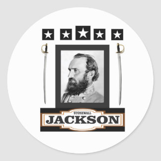 stonewall jackson history classic round sticker