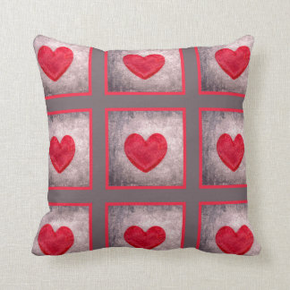 Stonewashed Heart in Gray and Red Plaid Throw Pillow