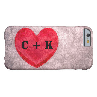 Stonewashed Heart Monogram Personalize Barely There iPhone 6 Case