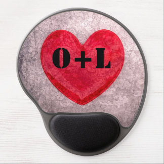 Stonewashed Heart Monogram Personalize Gel Mouse Pad