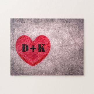 Stonewashed Heart Monogram Personalize Puzzle