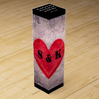 Stonewashed Heart Monogram Personalize Wine Box