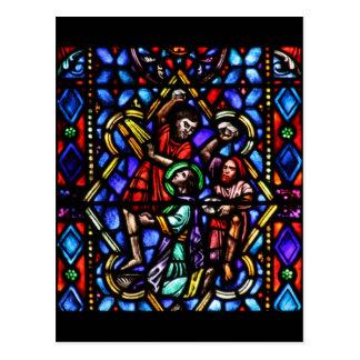 Stoning of Saint Stephens Stained Glass Art Postcard