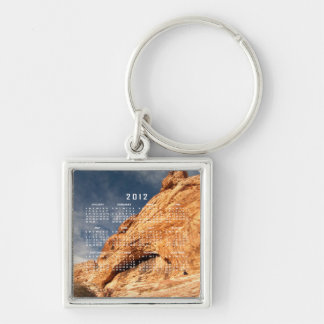 Stony Contrast; 2012 Calendar Silver-Colored Square Keychain