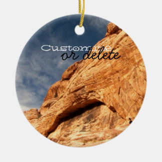 Stony Contrast; Customizable Double-Sided Ceramic Round Christmas Ornament