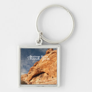 Stony Contrast; Promotional Silver-Colored Square Keychain