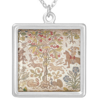 Stool cover, damask, late 16th century silver plated necklace