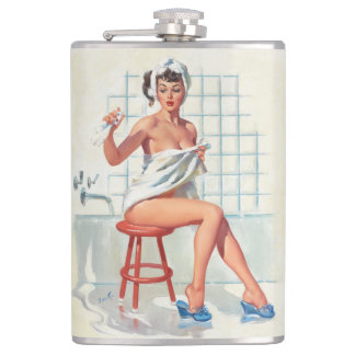 Stool pigeon sexy bathroom retro pinup girl hip flask