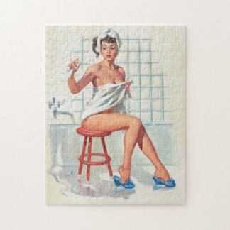 Stool pigeon sexy bathroom retro pinup girl jigsaw puzzle