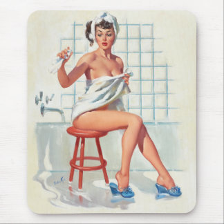 Stool pigeon sexy bathroom retro pinup girl mouse pad