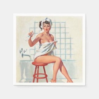 Stool pigeon sexy bathroom retro pinup girl napkin