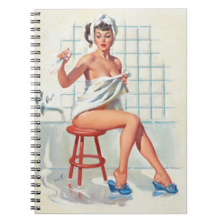 Stool pigeon sexy bathroom retro pinup girl notebook