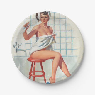 Stool pigeon sexy bathroom retro pinup girl paper plate