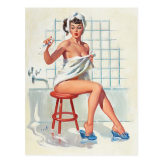 Stool pigeon sexy bathroom retro pinup girl postcard