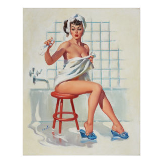 Stool pigeon sexy bathroom retro pinup girl poster