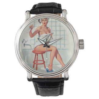 Stool pigeon sexy bathroom retro pinup girl watch