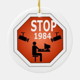 Stop 1984 Sign Ceramic Ornament
