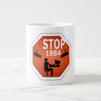 Stop 1984 Sign Large Coffee Mug