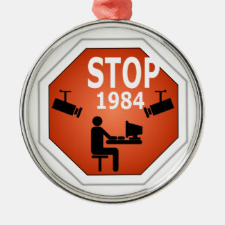 Stop 1984 Sign Metal Ornament
