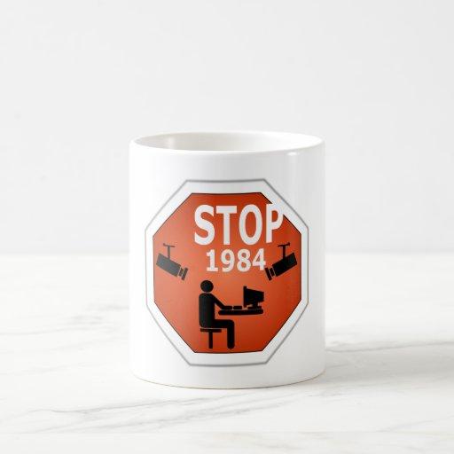 Stop 1984 Sign Coffee Mugs