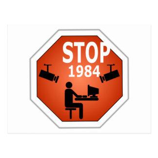 Stop 1984 Sign Postcard