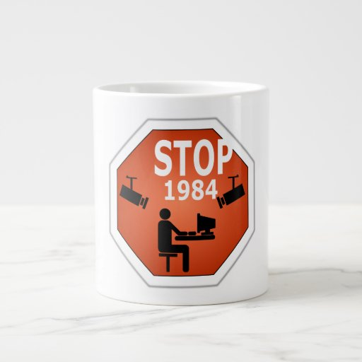 Stop 1984 Sign Extra Large Mug