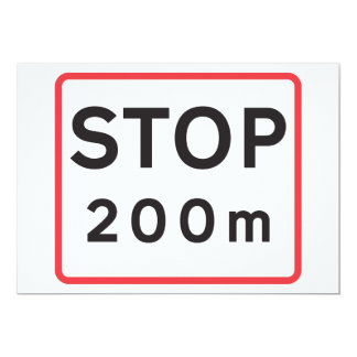 Stop 200 Meters Road Sign Invitations