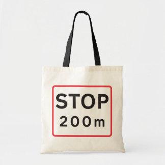 Stop 200 Meters Road Sign Tote Bag