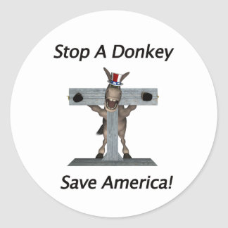 Stop A Donkey - Save America Classic Round Sticker