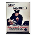 Stop Accidents Postcard