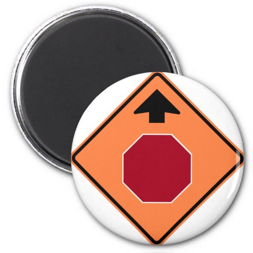 Stop Ahead Highway Construction Sign 2 Inch Round Magnet