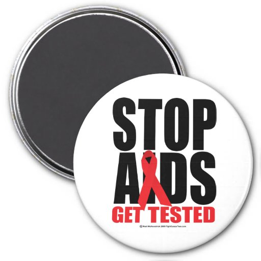 Stop AIDS: Get Tested 3 Inch Round Magnet