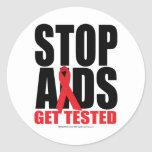 Stop AIDS: Get Tested Classic Round Sticker