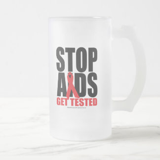 Stop AIDS: Get Tested Frosted Glass Beer Mug