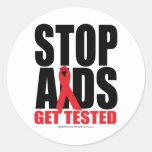 Stop AIDS: Get Tested Round Sticker