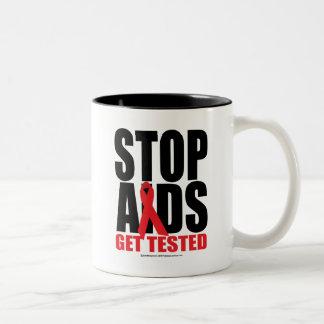 Stop AIDS: Get Tested Two-Tone Coffee Mug