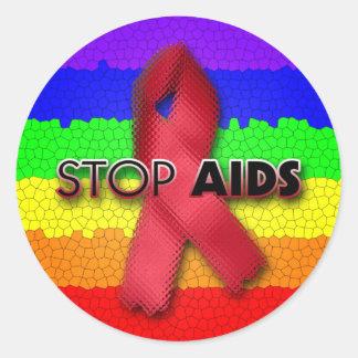 Stop AIDS (Rainbow) Classic Round Sticker