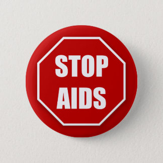 Stop AIDS Red Pinback Buttons