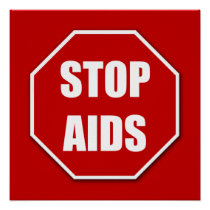 Stop AIDS Red Poster Print