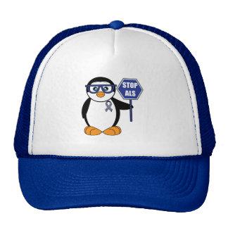 Stop ALS: Penguin with Sign Trucker Hat